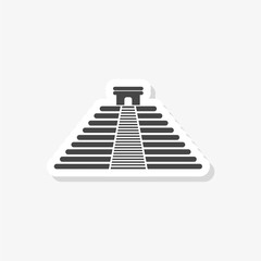 El Castillo pyramid in Chichen Itza flat sticker, simple vector icon