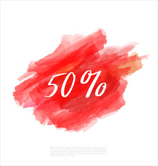 Sale 50% off artistic banner template design on red sketch background. Special offer, colourful letters for discount