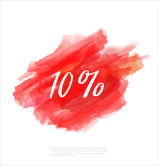 Sale 10% off artistic banner template design on red sketch background. Special offer, colourful letters for discount