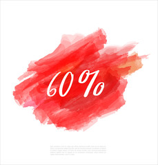 Sale 60% off artistic banner template design on red sketch background. Special offer, colourful letters for discount