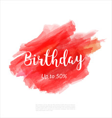 Birthday artistic banner template design on red sketch background. Special offer, colourful letters for discount