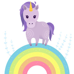 Vector illustration with cute unicorn and rainbow. Vector design isolated on white background. Print for t-shirt or sticker. Sweet hand drawing illustration for children.