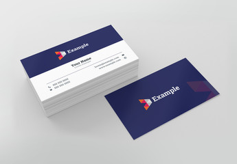 Dark Purple and White Business Card Layout