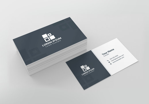 Blue-Gray and White Business Card Layout
