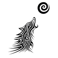 Wolf tattoo / Wolf tattoo tribal vector design sketch. Simple logo howling wolf moon on a white background.