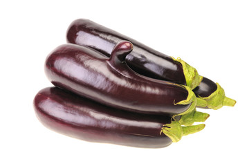 Group of five ripe aubergine with finger