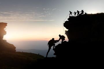 hike climbing mountain .