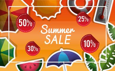season summer porcent of things in summer sale umbrellas watermelon plants sunshine vector illustration
