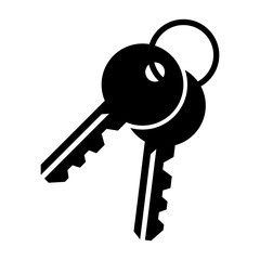 Simple, flat, black pair of keys icon. Silhouette icon. Isolated on white