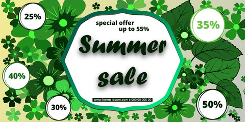 Summer banner with paper flowers for online shopping, advertising actions, magazines . Vector illustration.
