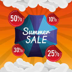 season summer clouds frsh day sale things offers shine blue umbrella vector illustration