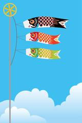 青空と3匹の鯉のぼりのイラスト|端午の節句のイメージ|ベクターデータ|Illustration of a carp streamer