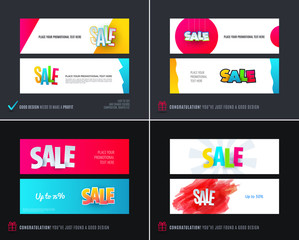Abstract vector set of modern horizontal website sale banners with colourful words, abstract shapes for promo, shopping, offer, advertisement.