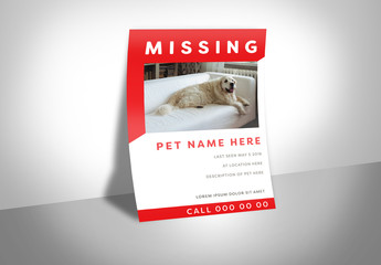 Missing Dog Poster Layout with Red Accents