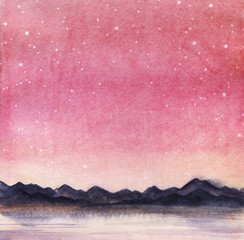 Landscape is a dark silhouette of mountain chain on the far side of the lake against the backdrop of pink sky with milk stars. Hand drawn watercolor  background