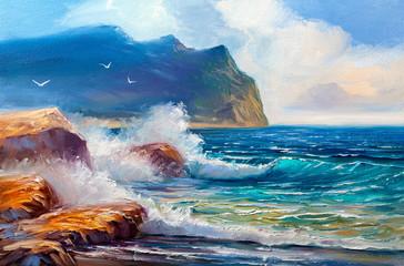 Seascape  painting .Sea wave.