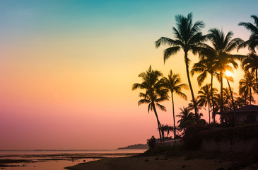Colorful tropical beach sunset.