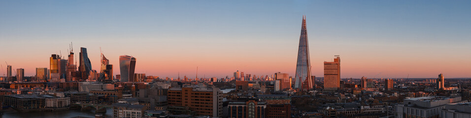 London Cityscape panorama at sunset with the modern skyscrapers