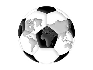 World map on the soccer ball