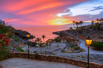 Foto auf Acrylglas Kanarische Inseln Playa Paraiso, Tenerife, Canary islands, Spain: Beautiful sunset on Playa Las Galgas