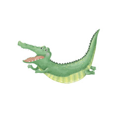 crocodile digital clip art cute animal drawing character color funny face smile jumping croc on white background