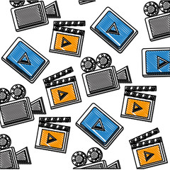 movie cinema projector clapper video player background vector illustration