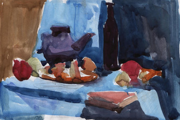 Quick watercolor sketch of a still life of utensils and fruit. Kitchen.