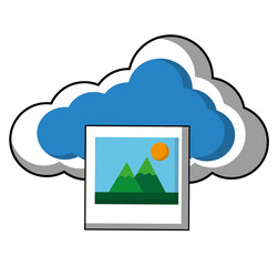 cloud computing with picture file vector illustration design