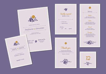 Wedding Invitation Set with Purple and Gold Accents