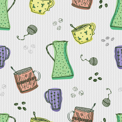 Seamless pattern with hand-drawn doodle kitchen coffee and tea elements on grey background