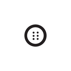 Clothes button with four holes iconisolated on white background