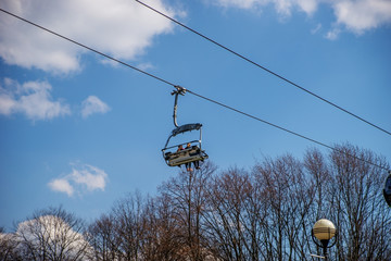 Suspended cable car in the Park.