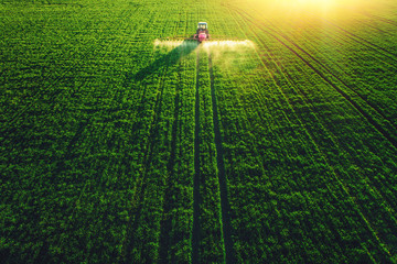 Aerial view of farming tractor plowing and spraying on field Wall mural