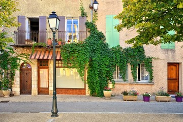 Traditional house fronts with wooden shuttered windows and leafy facade, Provence, France