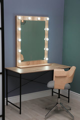 Beautiful mirror with lamps in modern makeup room