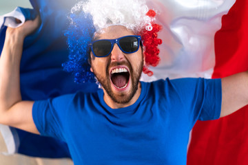French fan celebrating at home. Go France!