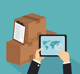 Online express delivery around world vector illustration graphic design