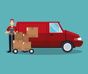 Courier with boxes and van vector illustration graphic design