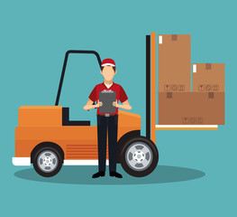 Courier with forklift vector illustration graphic design