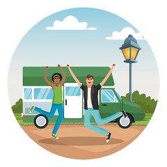 Young couple traveling with vehicle vector illustration graphic design