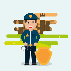 policeman holding handcuffs and badge - people workers profession vector illustration