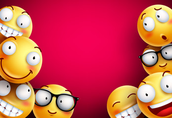 Smileys vector background. Yellow smileys or emoticons with funny and happy facial expressions in empty blank red background for text. Vector illustration.