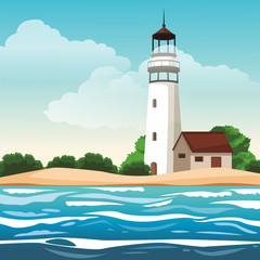 Lighthouse at landscape scenery vector illustration graphic design