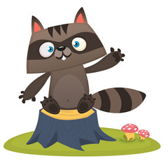 Funny cartoon raccoon waving a paw ad sitting on a tree stump. Vector illustration. Design for print or children book illustration