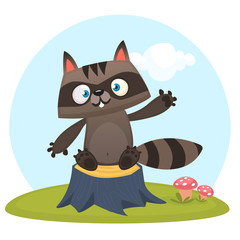 Funny cartoon raccoon waving a paw ad sitting on a tree stump in a meadow with a grass and murshrooms. Vector illustration. Design for print or children book illustration