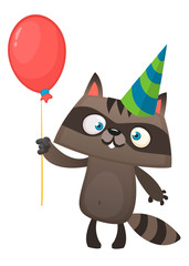 Funny cartoon raccoon holding red balloon wearing birthday party hat. Vector illustration for birthday postcard. Design for print or postcard