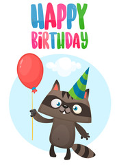 Funny cartoon raccoon holding red balloon wearing birthday party hat. Vector illustration for birthday postcard. Design for print
