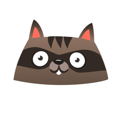 Funny cartoon raccoon head icon. Vector illustration. Design for print or children book illustration