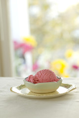 pink ice cream in sunny kitchen
