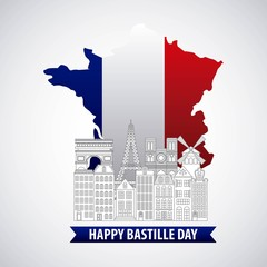 france paris architecture monuments landmark map flag french bastille day